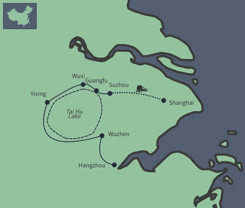 Routekaart van Waterstadjes in de Yangtze Delta
