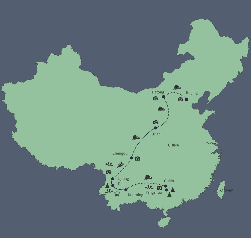 Routekaart van Grand Tour door China