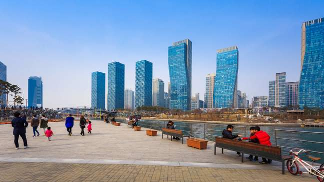 Het Songdo Central Park bij Incheon